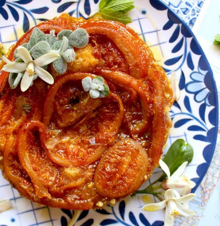 Torta caprese con marmellata di mandarini di Chios
