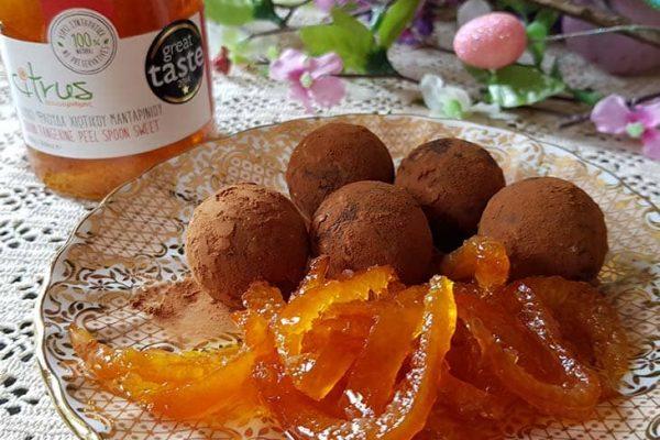 Cioccolatini alle scorze sciroppate di mandarino