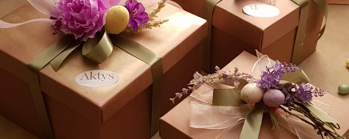 eleganti confezioni Pasquali di prodotti greci Aktys